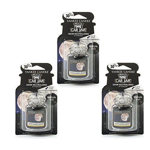 Yankee candles co., 3 x MidSummer's Night car jar Ultimate Air Freshener, Festive Scent
