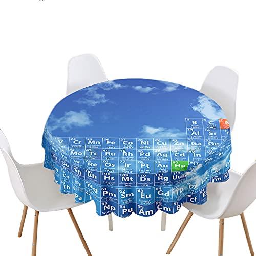 Highdi Impermeable Mantel de Redondo, Antimanchas Lavable Manteles 3D Estampado Interesante Moderno Decoración para Salón Cocina Comedor Mesa Exterior (Química,Redondo 100cm)