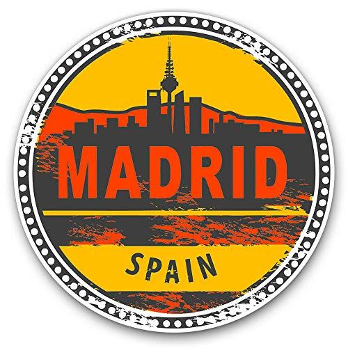 Pegatina para portátil Book Guitarra, casco de motocicleta, caja de herramientas, Madrid España España, sello de viaje, 4 pulgadas de ancho