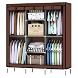 Lukzer Cloth Wardrobe for Bedroom 8 Shelves Storage Organizer/Non-Woven Fabric Closet Rack for Storing Clothes Toys Books Home Décor (Brown/ 130 x 45 x 175 cm)