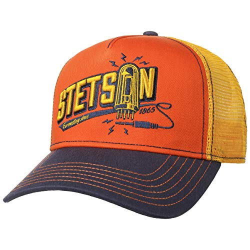 Stetson Connecting Trucker Cap Basecap Baseballcap Meshcap Truckercap Snapback Curved Brim Herren - Snapback, mit Schirm, Futter, Futter Frühling-Sommer Herbst-Winter - One Size gelb