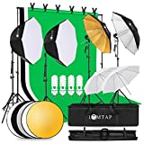 LOMTAP Photography Lighting Kit Soft Boxes Photo Studio Light Background Support System 6.5ftx9.8ft Stand Backdrop Softbox Umbrella with Reflector Green Screen Kit 4 Bulbs 6 Clips