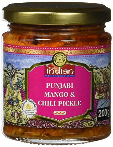 TRULY INDIAN Punjabi Mango & Chili Pickle, Würziges & scharfes indisches Relish mit traditionell eingelegter Mango & grüner Chili, Als würziger Dip oder Fertigsauce (6 x 200 g)