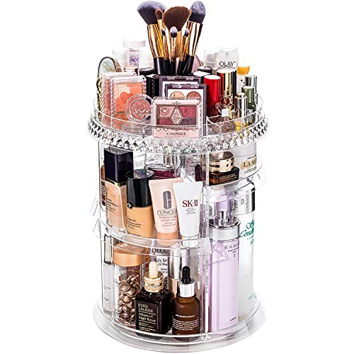 DreamGenius Makeup Organizer, 360 Degree Rotating Cosmetic Storage Organizer, 7-Layer Adjustable Makeup Display Case, Fits Jewelry, Makeup Brushes, Transparent Acrylic,Single Diamond