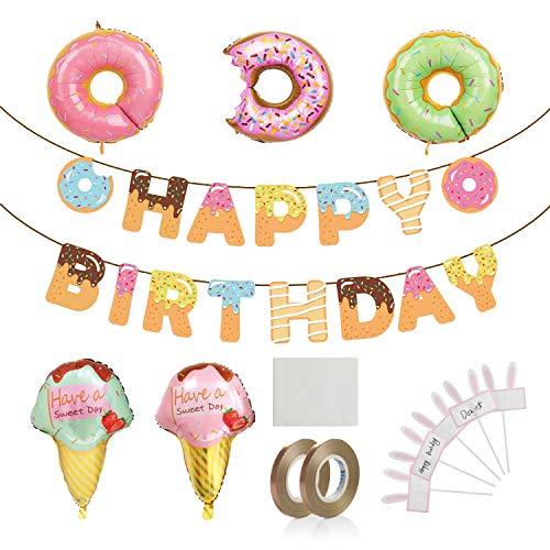 Donut Birthday Party Supplies Kit, Donut Happy Birthday Banner Balloons Cake DIY Toppers Ribbon Party Decoration for Girl Birthday Party Baby Shower Wall Decoration