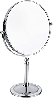 Vanity Mirrors Freestanding Cosmetic Mirror, 3x/5x/7x/10x Zoom, 8 inch Make Up Mirror Pedestal Table Mirror for Bathroom Bedroom, Shaving Mirror Cosmetic Double Sided Chrome,Silver