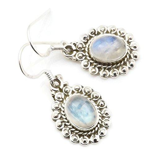 Ohrringe Ohrhänger Silber 925 Sterlingsilber Regenbogen Mondstein weiß Stein (Nr: MOH 116-04)