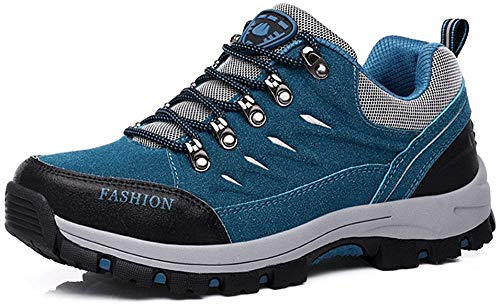 FZUU Wanderschuhe Trekking Schuhe Herren Damen Sports Outdoor Sneaker Armee Grün 35-44 Unisex (38, Blau)