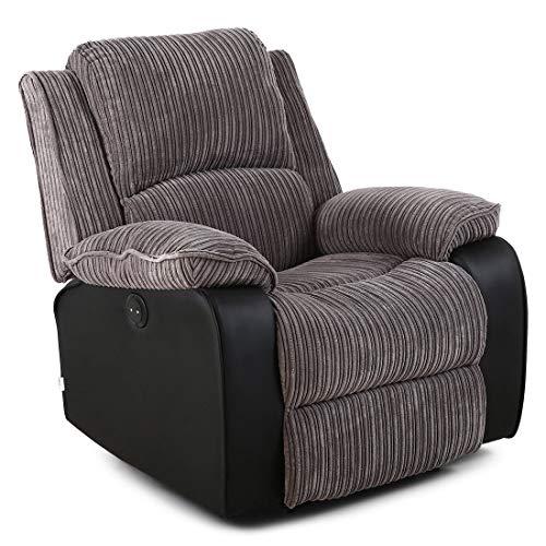 Postana Electric Armchair in Jumbo Cord Fabric Recliner Armchair Sofa Chair (Grey)