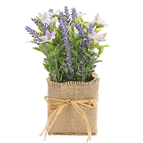 HO2NLE Artificial Mini Potted Lavender Flowers Small Burlap Potted Fake Plant Rustic Farmhouse Decor for Party Wedding Bathroom Office Table Patio Balcony Decoration
