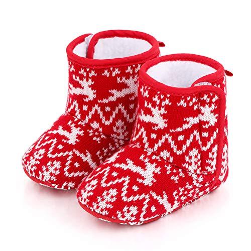 JTLB Navidad Infantil Bebé recién Nacido Botas navideñas Papá Noel Suela Suave Zapatos de Cuna Calzado Botines Lindos con Lazo Botas de Nieve de Invierno cálido