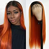 QD-Tizer Orange Lace Front Wig Long Straight Hair Ombre Color Heat Resistant Synthetic Lace Front Wigs for Fashion Women 24 inch