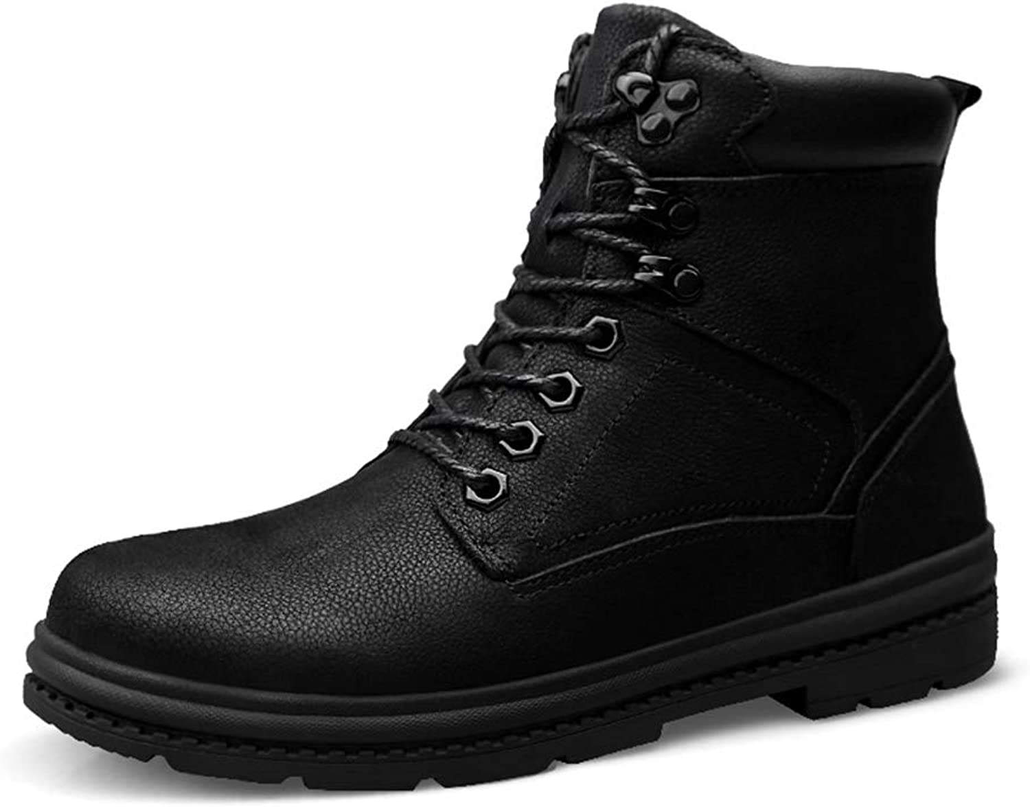 Xujw-shoes Men's Ankle Work Boots, Fashion Casual Winter Classic British Style Fleece Inside Warm High Top Boot
