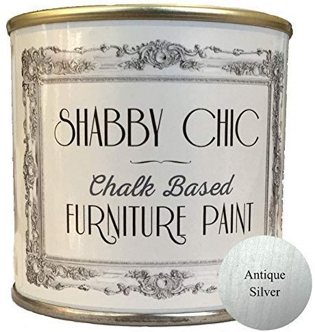 Shabby Chic Chalk Furniture Paint - Antique Silver 250ml - Chalked, Use on Wood, Stone, Brick, Metal, Plaster or Plastic, No Primer Needed, Made in The UK