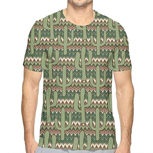 Mens 3D Printed T Shirts,Cartoon Style Saguaro Cactus Figures On Ethnic Zigzag Stripes Background M