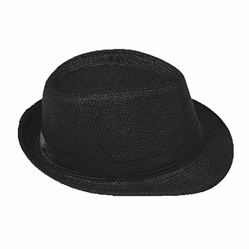 Miobo Strohhut Panama Fedora Trilby Gangster Hut Sonnenhut mit Stoffband Farbe:-Schwarz (Strohhut) Gr:-58