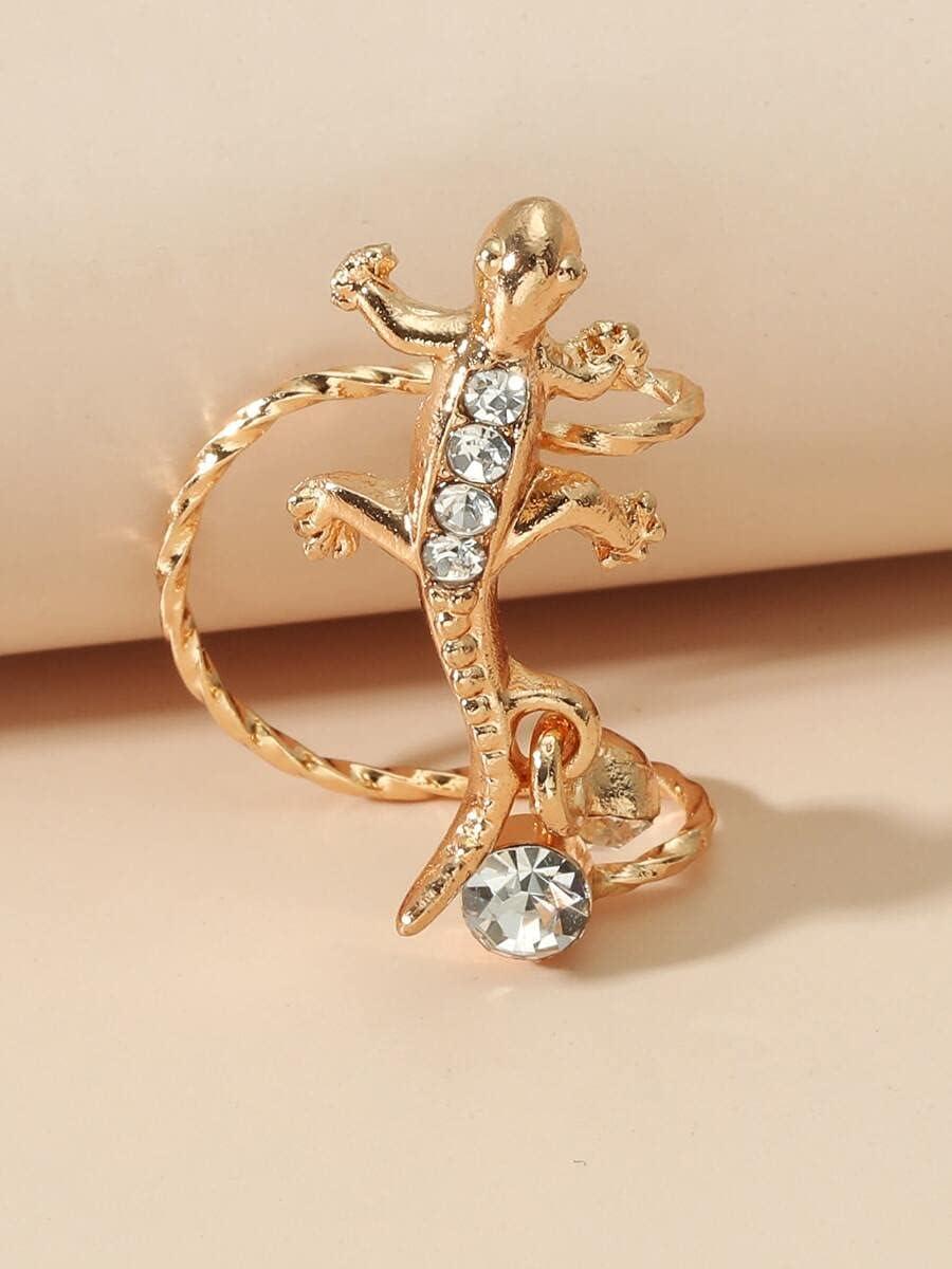 AXJTNL Hoop Earrings 1pc Rhinestone Gecko Decor Ear Cuff (Color : Gold)
