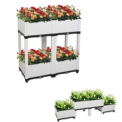 SSLine Set of 4 Raised Garden Bed Kits,Elevated Planter Box for Vegetables Fruits Herb Grow,Outdoor Plastic Elevated Garden beds with Self-Watering,Indoor Planting Box Container for Garden Patio