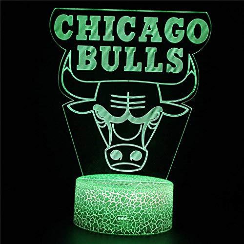 Luz nocturna 3D NBA Bulls Fans regalos para adolescentes niñas para niños y niñas, lámpara de mesa de escritorio de 16 cambio de color lámpara de decoración