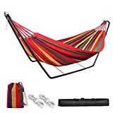 HJZ Hammock with Stand,Double Cotton Hammock with 330lb Load Capacity Indoor Outdoor Garden Camping Swing for Kids Adult,Beach Travel Canvas with Portable Carrying Bag Red
