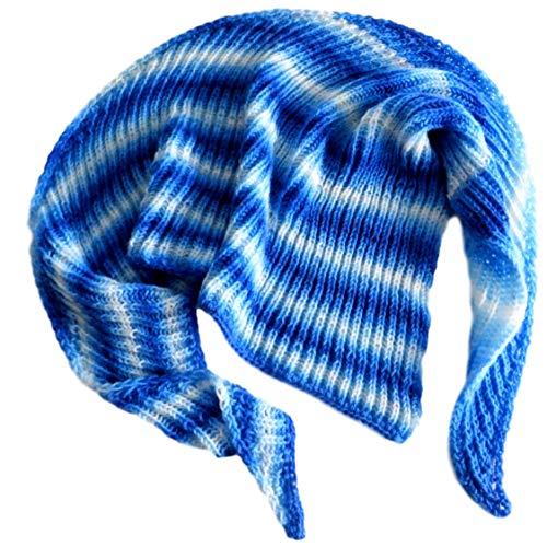 Dreieckstuch Patentmuster Weiß Hellblau Mittelblau Himmelblau Farbverlauf asymmetrisch gestrickt