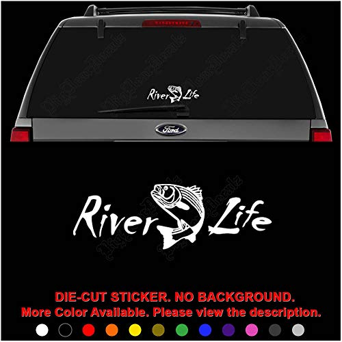 River Life Trout Fishing Die Cut Vinyl Decal Sticker for Car Truck Motorcycle Vehicle Window Bumper Wall Decor Laptop Helmet Size- [6 inch] / [15 cm] Wide || Color- Gloss White