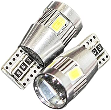 Canbus 2Pcs Super Red T10 Wedge 6SMD 5630 LED Light bulbs W5W 2825 158 192