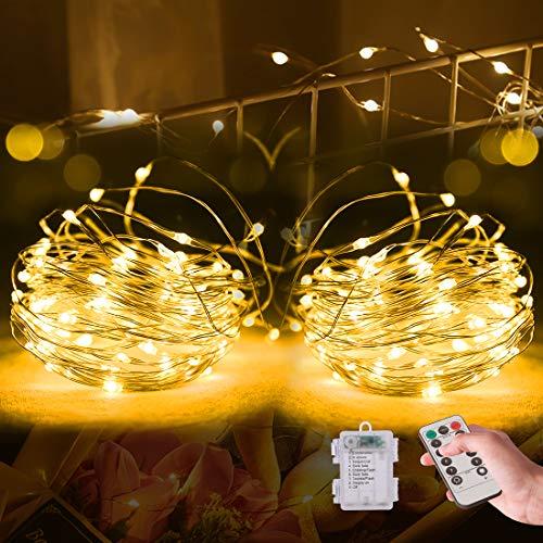 Efanty Stringa Luci LED a Batteria[2 Pezzi]10M 100 LED con Filo Rame Ghirlanda 8modalità 30 Led Foto Clip Esterno/Interni Lucine Decorative Per Giardino,Natale,Cortile,Matrimonio,Festa