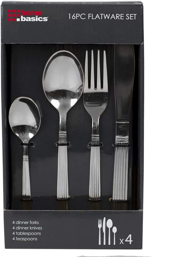Home Basics Directly managed store 16 Piece Stainless Steel 4 Set Super special price Service for Flatware