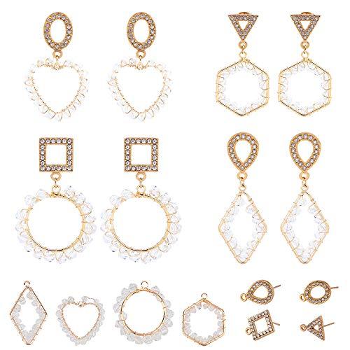 SUNNYCLUE Juego de Aretes de Cristal Chapados En Oro 18 Quilates 4 Pares de Aretes Cristal Y 4 Pares de Aretes Diamantes Imitación con Tachuelas para Hacer Joyas Aretes Bricolaje