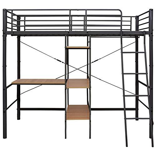 Lasamot Stapelbed, frame van metaal, zwart, stapelbed voor slaapkamer in moderne stijl, praktisch, 210 x 97,5 x 186 cm, met veiligheidsbeugel en veiligheidsladder