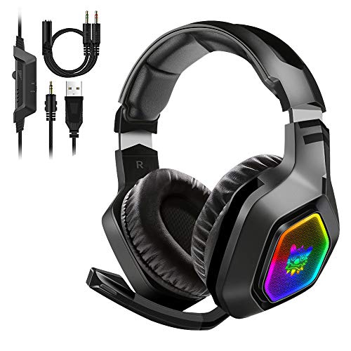 Cuffie da gioco ONIKUMA PS4 - Cuffie con audio surround 7.1 con luce LED a eliminazione del rumore, cuffie over-ear per PS4, Xbox One, PC, Mac, laptop, Nintendo Switch