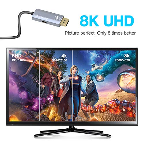 CABLEDECONN USB C to DisplayPort 1.4 8K 1M Cable with USB-C PD 8K@60Hz 4K@144Hz Converter Thunderbolt 3 to DisplayPort Adapter Compatible with New MacBook Pro 2019 2020 Dell XPS
