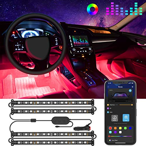 Govee Interior Car Lights LED Car Strip Lights with TwoLine Waterproof Design 48 LEDs App Control Car Light Kit DIY Mode and Music Sync Under Dash Car Lighting with Car Charger DC 12V
