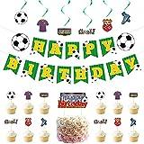 Decoración De Cumpleaños De Fútbol, Fútbol Fiesta Temática Con Pancartas y Fútbol Cake Topper, Decoraciones De Fiesta Para Niño Suministros De Fiesta De Cumpleaños Para Fanáticos Del Fútbol