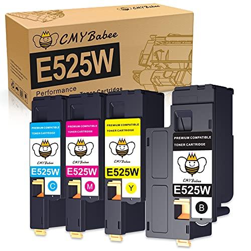 CMYBabee Kompatible Tonerkartusche für Dell E525W E525 Druckerpatronen für E525W Farblaserdrucker, 4er-Pack (593-BBJX 593-BBJU 593-BBJV 593-BBJW)