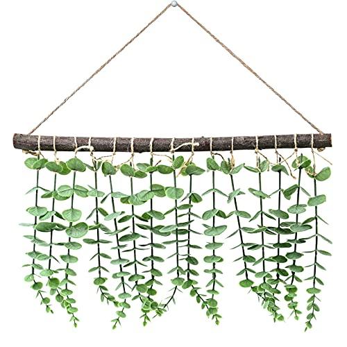 Edera Artificiale di Eucalipto artificiale Piante, Eucalyptus Pianta Finta Rampicante Verde Giallo Foglie Finte, Artificiale Foglie per Muro di Nozze Tavolo Giardino Casa Decorazioni (Verde)