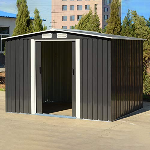 The Fellie Garden Storage Shed 6x8ft Tool Shed Carbon Black Garden Metal House