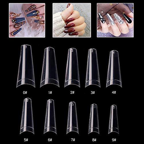 Mwoot 500 Piezas Puntas de Uñas Postizas, francesa Uñas Falsas Estilo Acrílico Nails Tips para Mujeres Niñas salones de uñas y DIY, 10 Tamaños (Claro)