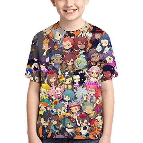 HJYR Ispirato da Inazuma Anime Eleven Teens Girocollo Sport Traspirante Sport T-Shirt a Maniche Corte per Ragazzi Nero
