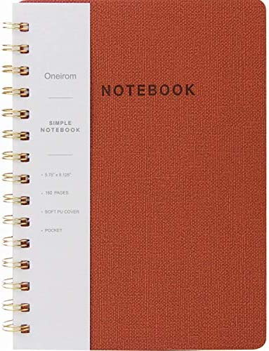Oneirom Spiral Notebook-6.10″ x 8.19″ College Ruled Journal with Inner Pockets and 160 Pages,PU Leather Cover Business Journal, Twin-Wire Binding Notebook Perfect for Office & Home School Supplies