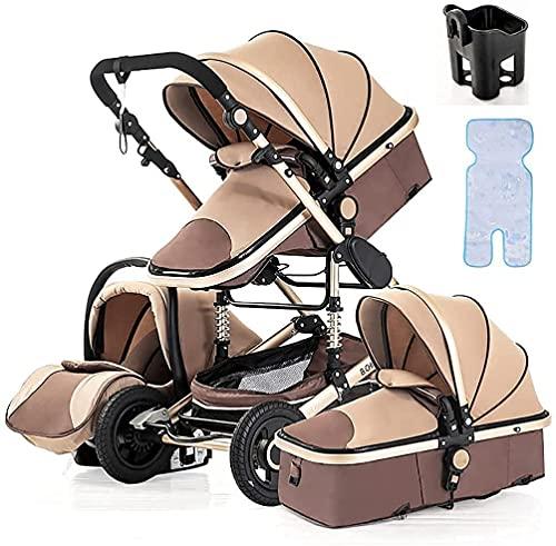 Chilequano Carro de visión Alta antisphock, con arnés de Seguridad de 5 Puntos, Asiento de reclinación de múltiples Posiciones, Canasta de Almacenamiento Grande, para recién Nacido y bebé