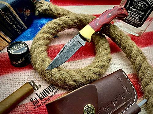 Beautiful Custom Handmade Damascus Steel Folding Pocket Knife Handmade Folding Knives Damascus Folding Knife with Leather Sheath Pocket Knives