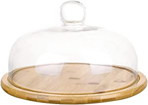 YARNOW Clear Glass Dome Cloche with Bamboo Base Tay Handle Cloche Bell Jar Cake Display Case Tabletop Centerpiece for Dessert Cheese Pastries