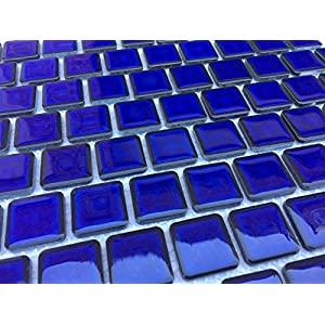 """Vogue Premium Quality 1"""" x 1"""" Cobalt Blue Porcelain Mosaic Tile on Mesh on 12x12 sheet, Designed in Italy (PACK OF 3 SHEETS)"""