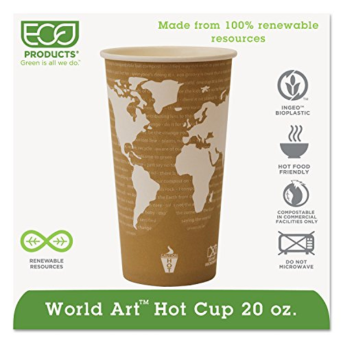 Eco Products EPBHC20WA World Art Renewable Resource Compostable Hot Drink Cups, 20 oz, Tan, 1000/Carton