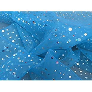 Christmas Decorations Diamante sequin spots Net curtain Voile organza draping Fabric Wholesale - PER METRE (Turquoise Blue)