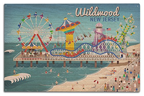 Lantern Press Wildwood, New Jersey - Retro Beach Boardwalk (10x15 Wood Wall Sign, Wall Decor Ready to Hang)