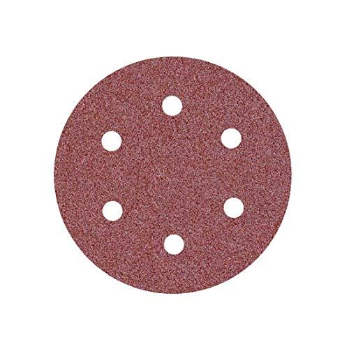 MioTools Fox Discos Abrasivos con Velcro, 150 mm, 6 Agujeros, Grano 120, para Lijadoras Roto Orbitales, Corindón Normal (50 Piezas)