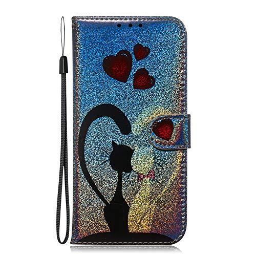 Capa ESSTORE para Apple iPhone 11 Pro Max 6,5 polegadas, capa flip de couro PU premium com impressão colorida 3D [protetor de tela] [compartimentos para cartões] - Love Cat